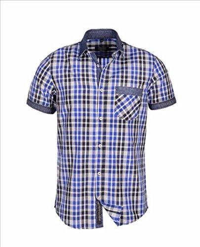 Carisma, Männer-Designer-Kontrastgechektes-Kragenhemd Blau 2