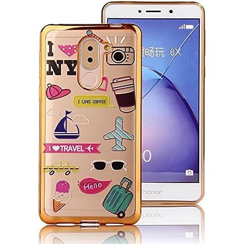 Honor 6X Coque Transparente TPU Gel Souple Ultra Slim Electroplate Frame Incassable avec Impression Sunroyal® Coque Huawei Honor 6X (5.5 pouces) Etui Housse Silicone Case Cover de Protection Anti-Choc Bumper Motif - La vie quotidienne