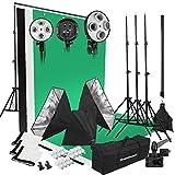 Excelvan Kit Éclairage Studio Photo 2000W 5500K 3* Softbox + 3* Têtes d'éclairage à 4 Sockets + 3* Trépied + 12* Ampoule LED + Kit de Bras Girafe + Kit de Fond
