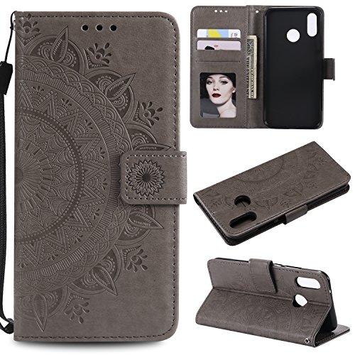 HTDELEC Huawei P20 Lite Hülle, Ultra Slim Flip Hülle Grau Etui mit Kartensteckplatz und Magnetverschluss Leder Wallet Klapphülle Book Case Bumper Tasche für Huawei P20 Lite(T-Grau)