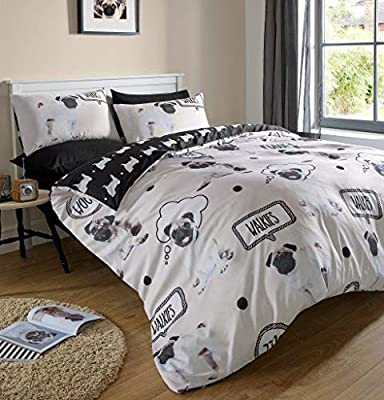 Dreamscene Pug Duvet Cover with Pillow Case Bedding Set Blanket Throw Pooch Puppy Dog Gift from Dreamscene