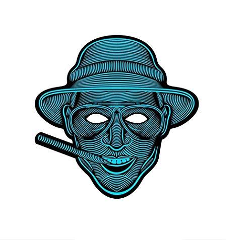 SNHWARE Sound Reaktive LED Halloween Masken, LED Maske Tanz Rave Licht Einstellbare Maske Für Festival,Cosplay,Halloween,Kostüm,Batterie Angetrieben