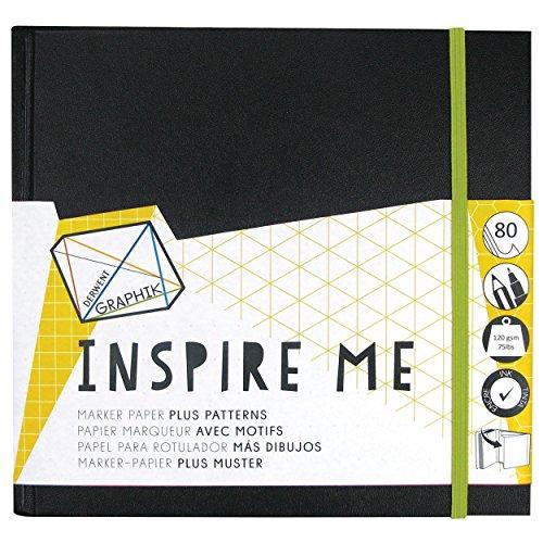 Derwent Skizzenbuch, Graphik Inspire Me, 80 Seiten, durchschlagfest, gemustert, 120 g/m²-Papier M schwarz -