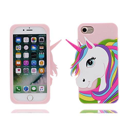 iPhone 7 Plus Custodia, iPhone 7 Plus Copertura 5.5, | TPU durevole Case Per le ragazze delle signore Ragazzi | Gomma morbida del gel/ Cover / evidente/ unicorno unicorn Pink