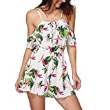 Longra Women Summer Jumpsuits Sets,Lady Cold Shouder Casual Beach Jumpsuit Elastic Waist Short Romper Jumpsuit Playsuit (L, White)