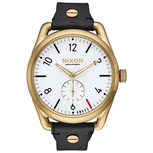 Nixon Unisex Erwachsene Digital Uhr mit Leder Armband A459-2498-00