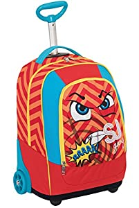BIG TROLLEY SJ FACE - 2in1 Wheeled Backpack with Disappearing Shoulder Straps - Red Blue 31Lt from Seven