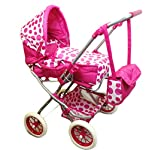 MTS Deluxe 3 in 1 Dolls Pram Stroller Carry Cot Buggy Pushchair With Bag Girls Toy