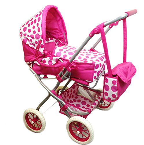 Deluxe 3 in 1 Dolls Pram Stroller Carry Cot Buggy Pushchair With Bag Girls Toy 51 2BQRmCKdsL