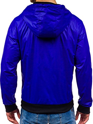 BOLF – Veste á capuche – Fermeture éclair – Sport – Motif – Casual – Homme [4D4] Cobalt