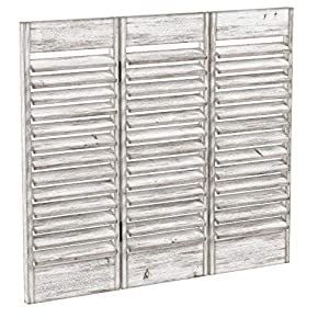 Pureday Dekoobjekt Fenster-Paravent – Shabby Chic – Holz – Antik Weiß