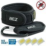 Bracelet Anti Moustique, Lot d'un bracelet anti moustique + clip, 4 recharges GRATUITES, ingrédients naturels garantis sans DEET, non toxique