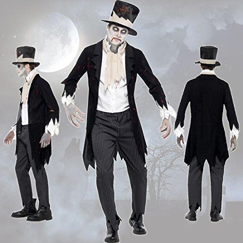 Costume da sposo fantasma travestimento marito zombie m 48/50 - maschera halloween gentiluomo horror vestito notte dei morti viventi nobiluomo mascheramento spettro terrificante abito gotico da uomo