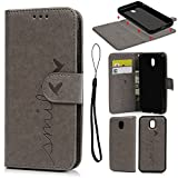 Galaxy J3 2017 Case, SUPWALL 2 in 1 Magnetic Detachable Smile Love Embossed PU Leather Wallet Flip Case Cover for Samsung Galaxy J3 2017 with Card Slots & Wrist Strap, Gray