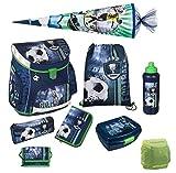Fußball Schulranzen-Set Scooli Campus Up 9tlg. mit Dose, Flasche, Schultüte 85 cm groß und Regenschutz