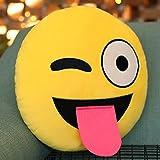 Emoji-Kissen, das heraus Zunge-Kissen, Purpur-Salt® - Emoticon klebt Nettes weiches angefülltes bequemes Plüsch-smiley-Kissen-Kissen, 28cm / 12 Zoll gelbes rundes starkes, buntes Neuheits-Geschenk
