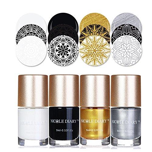 NICOLE DIARY 4Pcs Nail Art Stamping polishs