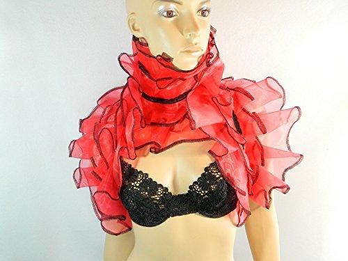 Set Stola und Kragen rot Clown Harlekin Kostüm (70 Rock Kostüme Glam)