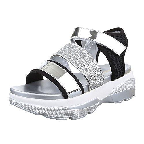 Damen Schuhe, H217, SANDALEN PLATEAU GLITTER Silber