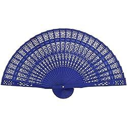 PIXNOR Abanico de Madera, Ventilador plegable chino (azul)