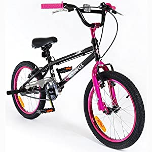 """SilverFox BMX Plank 18"""" Bike with Stunt Pegs in Black and Pink - Girls - New 2016 Model"""