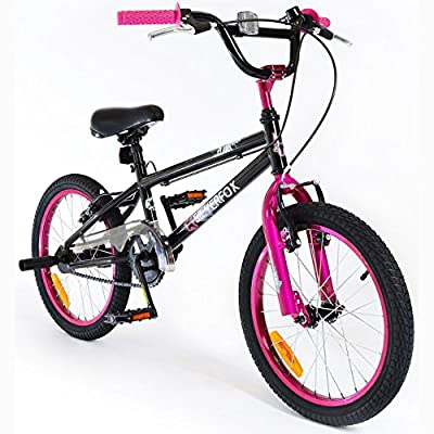 "SilverFox BMX Plank 18"" Bike with Stunt Pegs in Black and Pink - Girls - New 2016 Model"