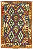 CarpetFine: Kelim Afghan Teppich 74x114 Blau,Orange - Geometrisch
