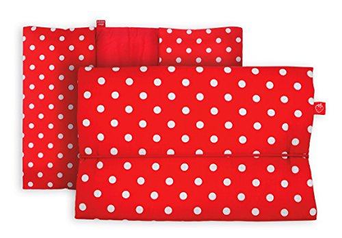 Windeltasche für unterwegs in rot mit weißen Punkten (bag in bag - Geburtsgeschenk Junge Mädchen) -