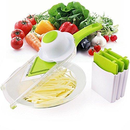 NexGadget V-Blade-Gemüsehobel,Reibe mit 4 V-Blade Klingen,Zwiebelschneider - Pommes Kartoffelschneider mit Edelstahl-Blatt,schneidet Scheiben,schneidet Stifte