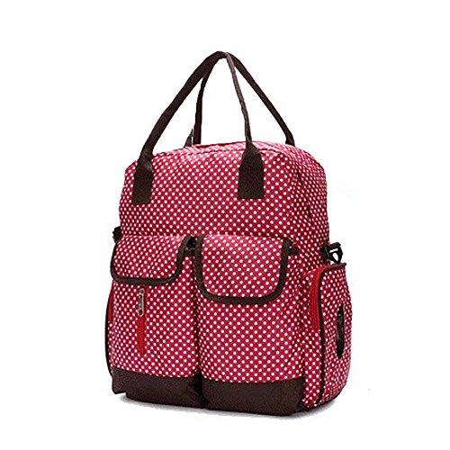 GSPStyle Damen Schultertasche 3pcs Babytasche Wickeltasche Mutter Windeltasche Polka Dot Farbe Beige Rot