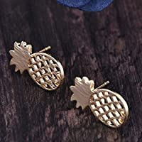 SSEHL earring Fruit earring gold sliver color small wire drawing with pineapple surface stud earrings for women