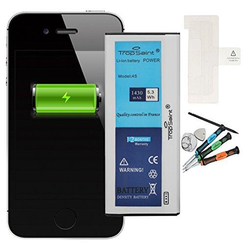 Trop Saint Akku für iPhone 4S - 1430mAh/3,8V mit Werkzeug und Sticker (Apple Ersatz Oem Batterie)