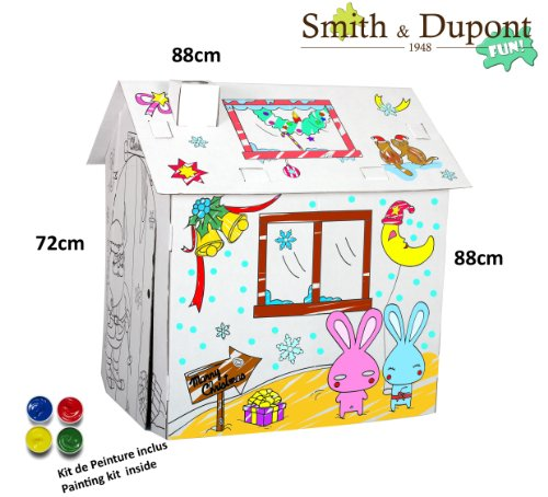 Papphaus zum Bemalen Bunny Christmas mit Paint Kit enthalten -Smith&Dupont (Bunny Zubehör Kit)