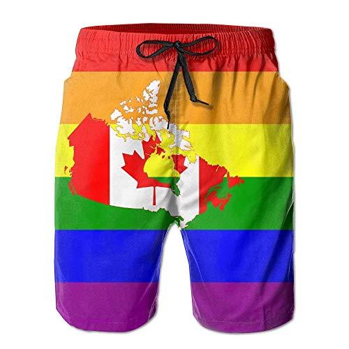 VLOOQ-HX LGBT Gay Pride Kanada Flag Herren Sommer schnell trocknende Strandshorts Board Badehose mit Tasche Gr. XXL, weiß