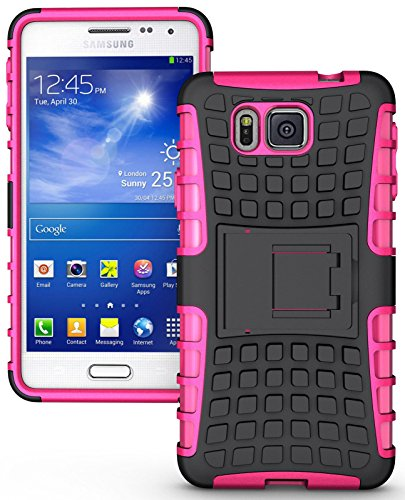Heartly Flip Kick Stand Spider Hard Dual Rugged Armor Hybrid Bumper Back Case Cover For Samsung Galaxy Alpha 4G SM-G850FQ - Cute Pink  available at amazon for Rs.349