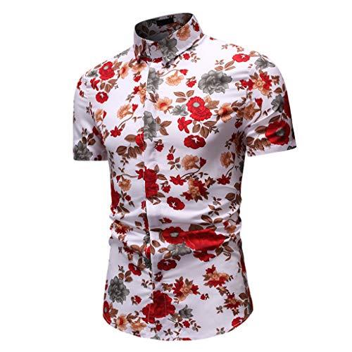 Hawaiihemd Kurzarm Urlaub Freizeit Reise Shirt Strand Blumen BeiläUfige Hemden Aloha FüR Party Feiertag(Mehrfarbig-02,XXL) ()