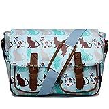 Miss LuLu Wachstuch Tasche Umhängetasche Schultasche mit vielen Drucken in vielen Farben (CT-LBE)