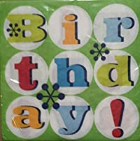 Party! Happy Birthday Green Background Luncheon Napkins (20)