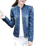 ZongSen Damen Stehkragen Jeansjacke Übergangsjacke Langarm Basic Mäntel Jeans Denim Mantel Denim Blau L