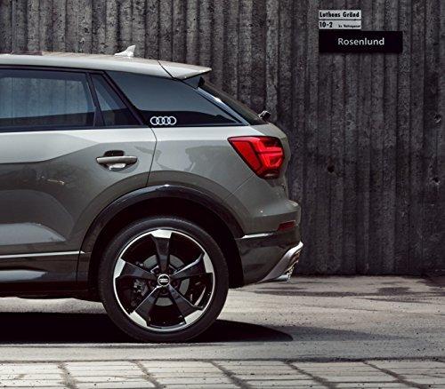 Audi - emblema adesivo ad anelli, originale Q2 – pellicola decorativa per la colonna C, colore: argento