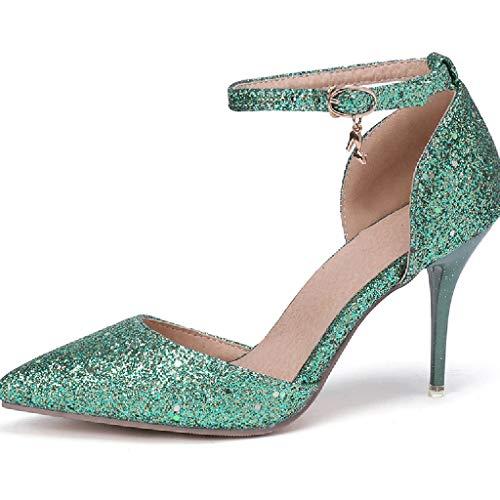 nsandalen Mitte High Heel Sparkly Damen Knöchelriemen Glitter Party Abend Brautschuhe,Green-36 ()