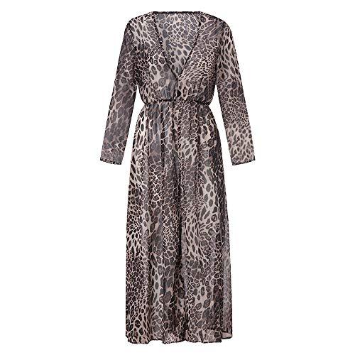 Sexy V-Ausschnitt Leopard Kleid für Damen Drucken Split Maxi-Kleid Langarm Party Wrap Abendkleid