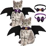 2 Stücke Haustier Katze Fledermausflügel und Kragen Fliegen, Fledermausflügel für Hunde Katze Kostüm für Halloween Party Dekoration Haustier Cosplay