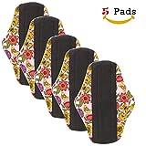 Qikafan Serviettes hygiéniques en fibre de bambou - Serviettes menstruelles en tissu lavable pour flux important ou pour la nuit - Lot de 5 avec motif fleuri - Couche de charbon pour éviter les fuites, les odeurs et les taches