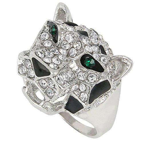 Flyonce Österreichischer Kristall Emaille Schöne Roaring Leopard Ring Klar Silber-Ton - Größe S