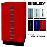 BISLEY Schubladenschrank 29 aus Metall | Schrank mit 10 Schubladen und Sockel | Büroschrank DIN A3 | Werkzeugschrank | Metallschrank in 6 Farben (Kardinalrot)