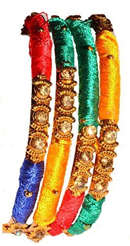 Bollywood Indian Silk Thread Metal Bengles - Multi,Bollywood,Armband,Armreifen,brecelet, Handschmuck , Indische Chudi