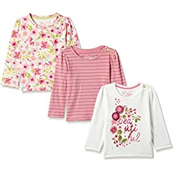 Mothercare Baby Girls' T-Shirt (Pack of 3)(JH425-1_Pink_12-18 months)