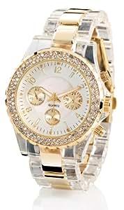 Crell Damenuhr: Elegante Quarz-Armbanduhr, transparent-gold (Armbanduhren Damen)