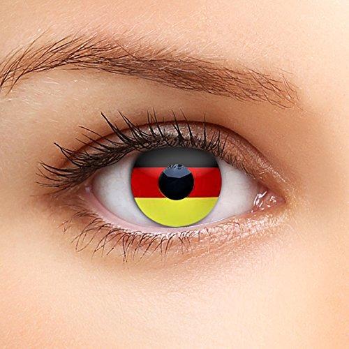 Farbige Kontaktlinsen DEUTSCHLAND FLAGGE Fussball Farblinsen zur Weltmeisterschaft absolut DECKEND